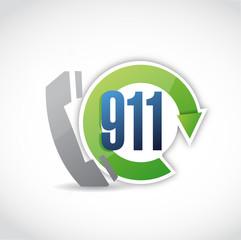 911 phone cycle illustration design