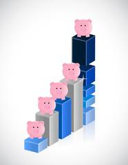 business graph and piggybanks illustration