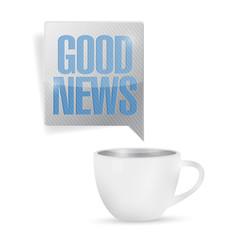 coffee mug and good news message illustration