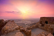 Leinwanddruck Bild - Beautiful sunrise over ancient Masada fortress in Israel