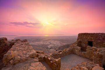Beautiful sunrise over ancient Masada fortress in Israel