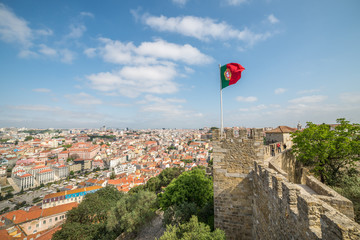 panoramic view of Lisbon, from Sao Jorge Castle in Portugal, Eur