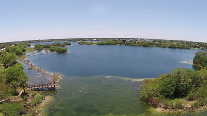 Florida lake and scenery 350 deg aerial view