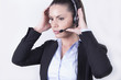 Beautiful Business woman with headphones (headset, office)