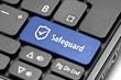 Safeguard. Blue hot key on computer keyboard.