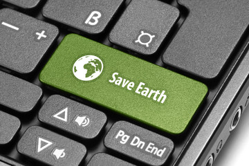 Save Earth. Green hot key on computer keyboard.