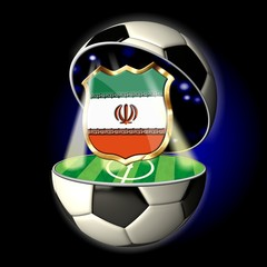 Open soccer ball with crest of IRAN