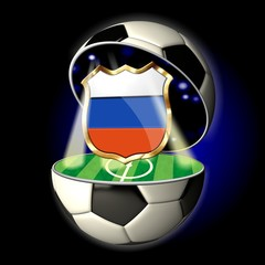 Open soccer ball with crest of RUSSIA