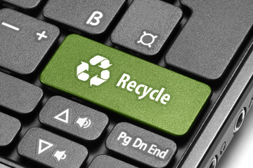Recycle. Green hot key on computer keyboard.