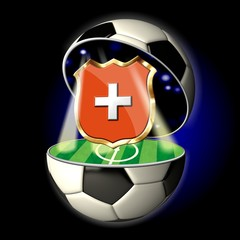 Open soccer ball with crest of SWITZERLAND