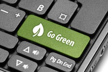 Go Green. Green hot key on computer keyboard.