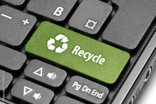 Recycle. Green hot key on computer keyboard. Poster