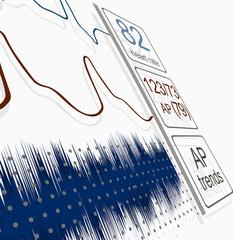 ECG, BP curves on the monitor. Medical vector
