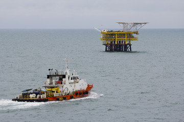 Oil platform with standby boat