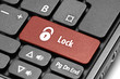 Lock. Red hot key on computer keyboard.