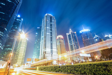 futuristic urban buildings at night