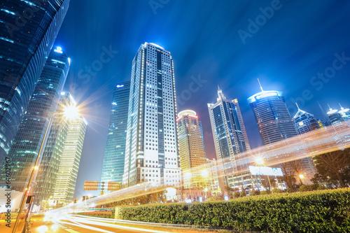 futuristic urban buildings at night
