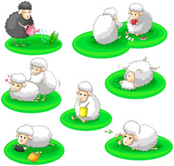 Black and white sheep activity collection set (vector)
