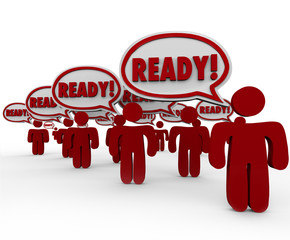 Ready Speech Bubbles Prepared People Anticipate Action