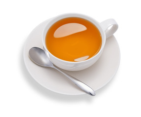 Top view of a cup of tea , isolate on white