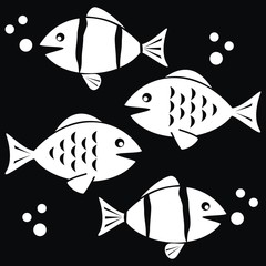 fishes - black and white