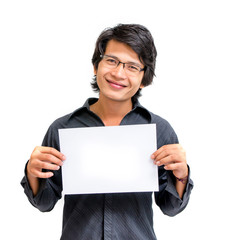 Smile asian man showing blank paper