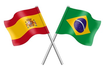 Banderas: españa y Brasil