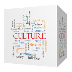 Culture 3D cube Word Cloud Concept