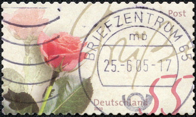 stamp printed in Germany shows rose as a gift