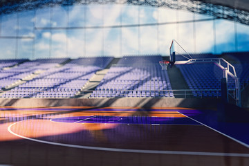 Basketball arena render in blue toning