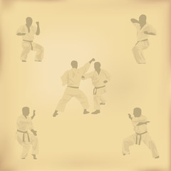 Set of images of karate on old paper