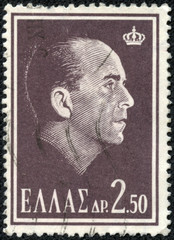 stamp printed in Greece, shows portrait of King Paul I