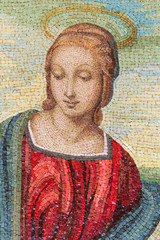 Mosaic of Mother Mary. It looks like the one by Raffaello.