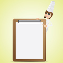 cartoon cute chef with blank menu board