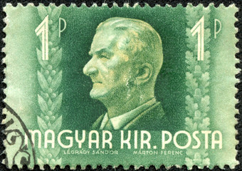 stamp shows admiral Miklos Horthy, Regent of Hungary