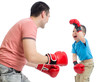 Father and kid son play with boxing gloves