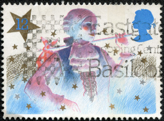 Stamp shows a Christmas pantomime character