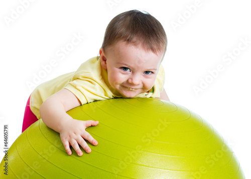 Child girl with  gymnastic ball isolated