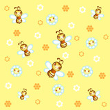 Children's background with pretty bees