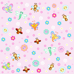 Children's background with pretty insects