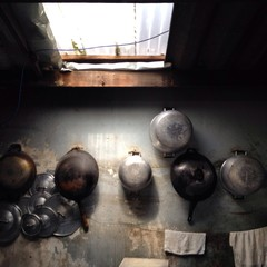 pot and pan in old rural upcontry kitchen