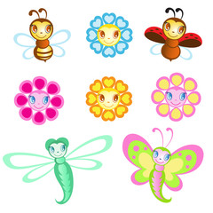 Vector set of Merry insects