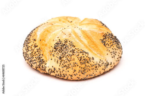 Fotobehang Brood Kaiser Roll With Poppy Seeds Isolated