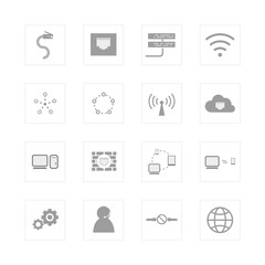 Computer Network and communication icon set.
