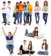 Collage of young students isolated on white