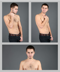 Snapshot of model. Handsome man on grey background