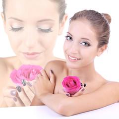 Beautiful girl with rose close-up