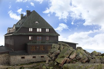 Mountain Refuge at top of Szrenica in Karkonosze