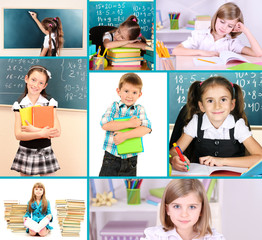 Collage of school children close-up