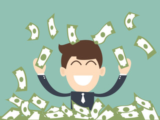successful businessman  man enjoying the rain of money